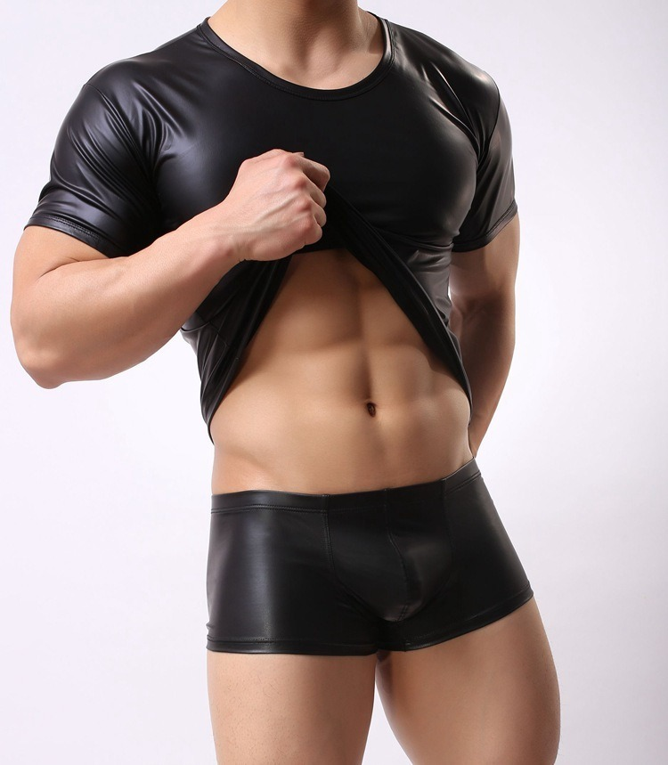 Faux Leather T Shirt Men Tshirts O neck Short Sleeve Male Top Tees Night Club Performance 1