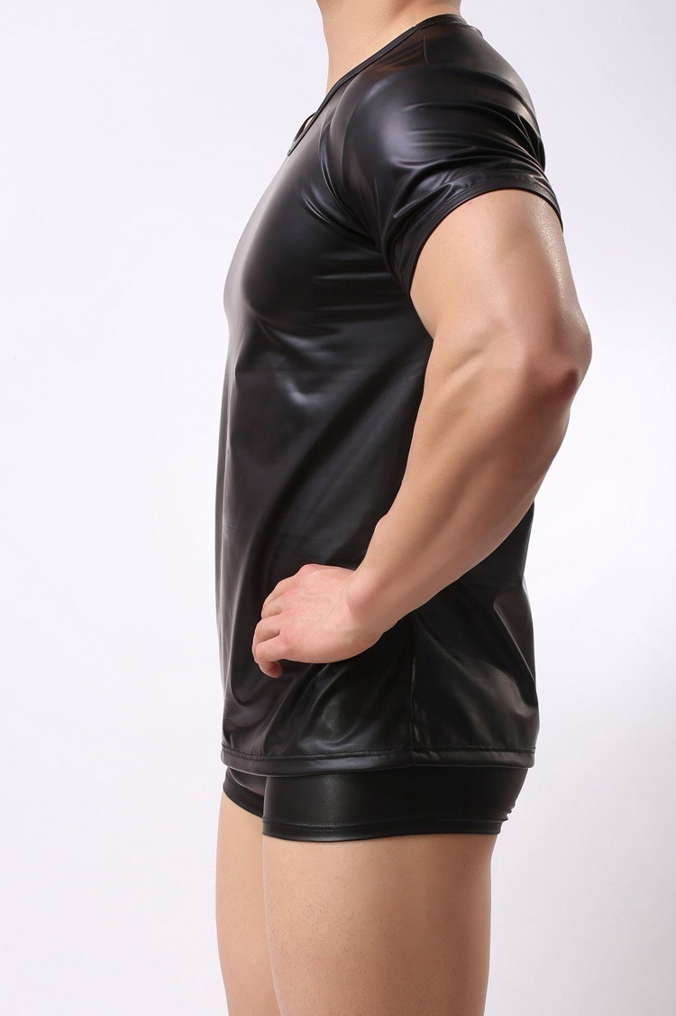 Faux Leather T Shirt Men Tshirts O neck Short Sleeve Male Top Tees Night Club Performance 3