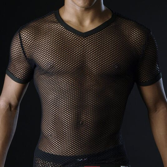 Hot Men T Shirts Transparent Mesh See Through Tops Tees Sexy Man Tshirt V Neck Singlet