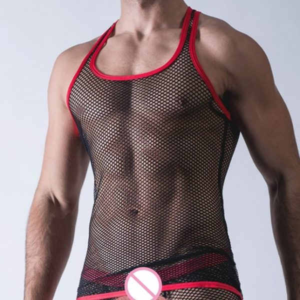 Sexy Men Tank Tops Transparent Mesh Singlet Underwear Gay Exotic Home Lounge Sleep Wear Undershirts Summer