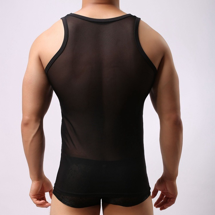 Transparent Mesh Sexy Tank Tops for Men Summer Vest Sleeveless Mens Shirt Undershirts O Neck Male 2