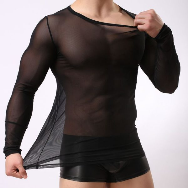 Transparent Mesh T Shirts Men Tshirt O neck Long Sleeve Man Top Tees Singlet Undershirt Sexy 1
