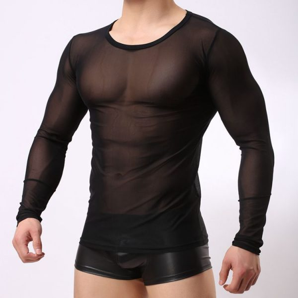 Transparent Mesh T Shirts Men Tshirt O neck Long Sleeve Man Top Tees Singlet Undershirt Sexy