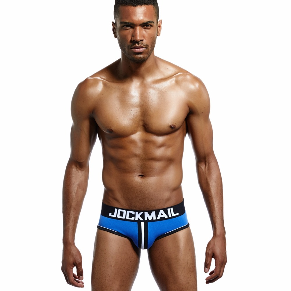 JOCKMAIL Brand Men Underwear open back Sexy DOUBLE PIPING BOTTOMLESS BRIEF Cotton Men Brief Backless Buttocks 5