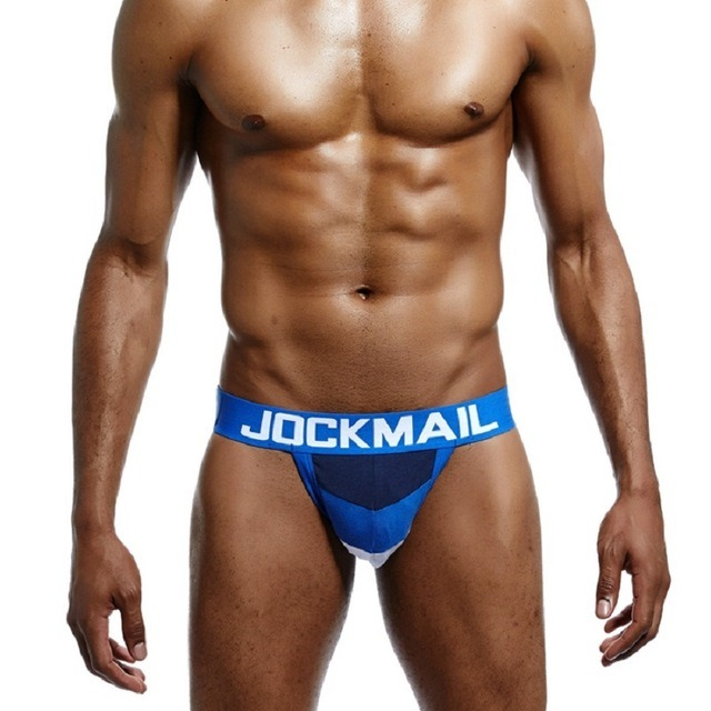 JOCKMAIL Brand Sexy Men Underwear WJ U Convex Jock Straps Patchwork Cotton G Strings Thong Low 1.jpg 640x640 1
