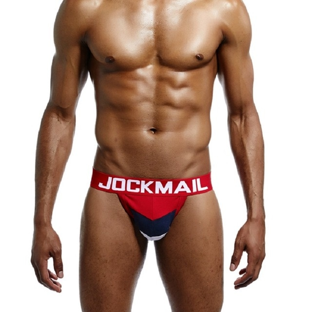 JOCKMAIL Brand Sexy Men Underwear WJ U Convex Jock Straps Patchwork Cotton G Strings Thong Low 3.jpg 640x640 3