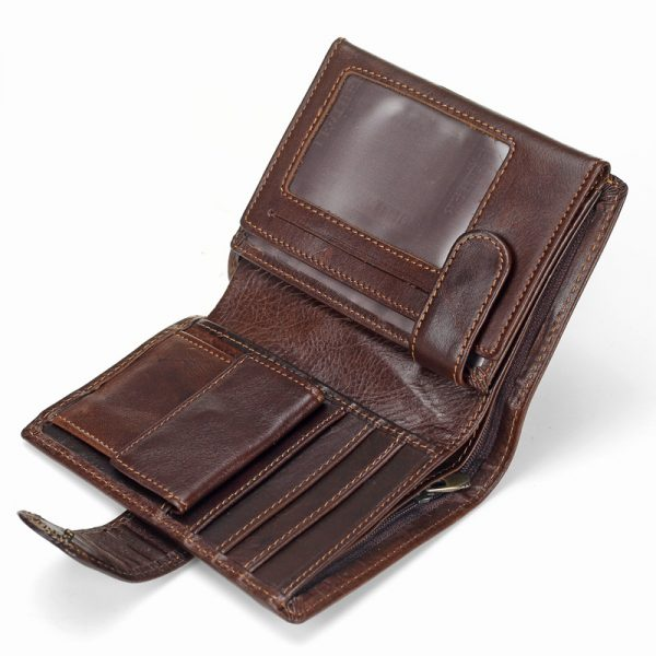 Baellerry Men Wallet Oil Wax Cowhide Genuine Leather Wallets Coin Purse Clutch Hasp Open Top Quality 6