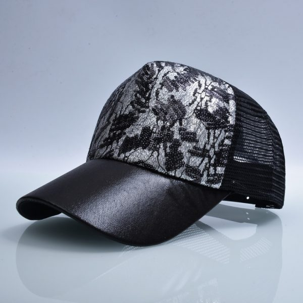 Casual Hats For Women Sequins Flashes 5 Panel Trucker Hip Hop Cap Girl s Breathable Mesh 5