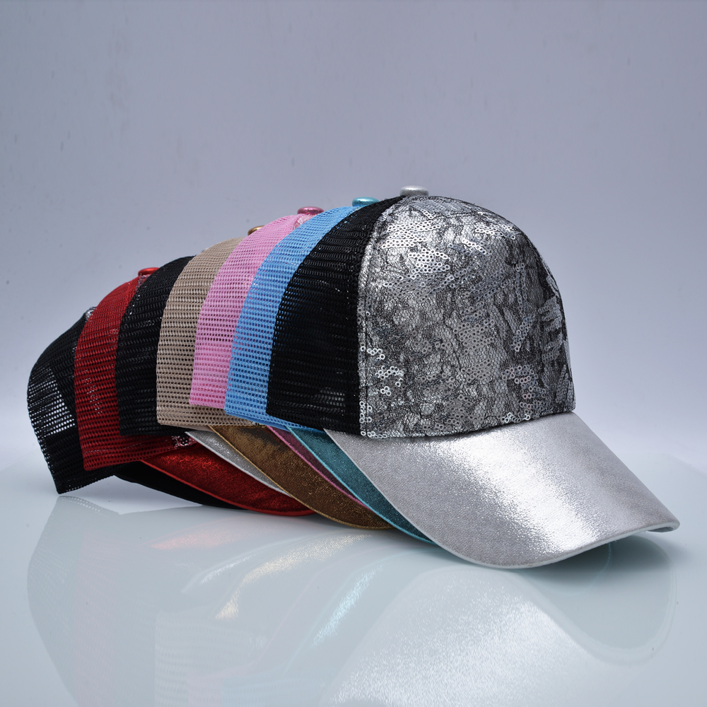 Casual Hats For Women Sequins Flashes 5 Panel Trucker Hip Hop Cap Girl s Breathable Mesh 9
