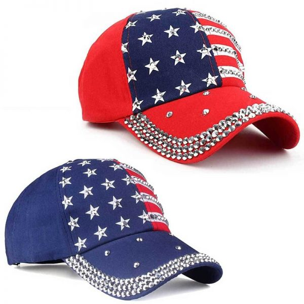 Genbitty High Quality Star Pattern Baseball Cap Rivet Printed Women Men American Flag Snapback Hip Hop