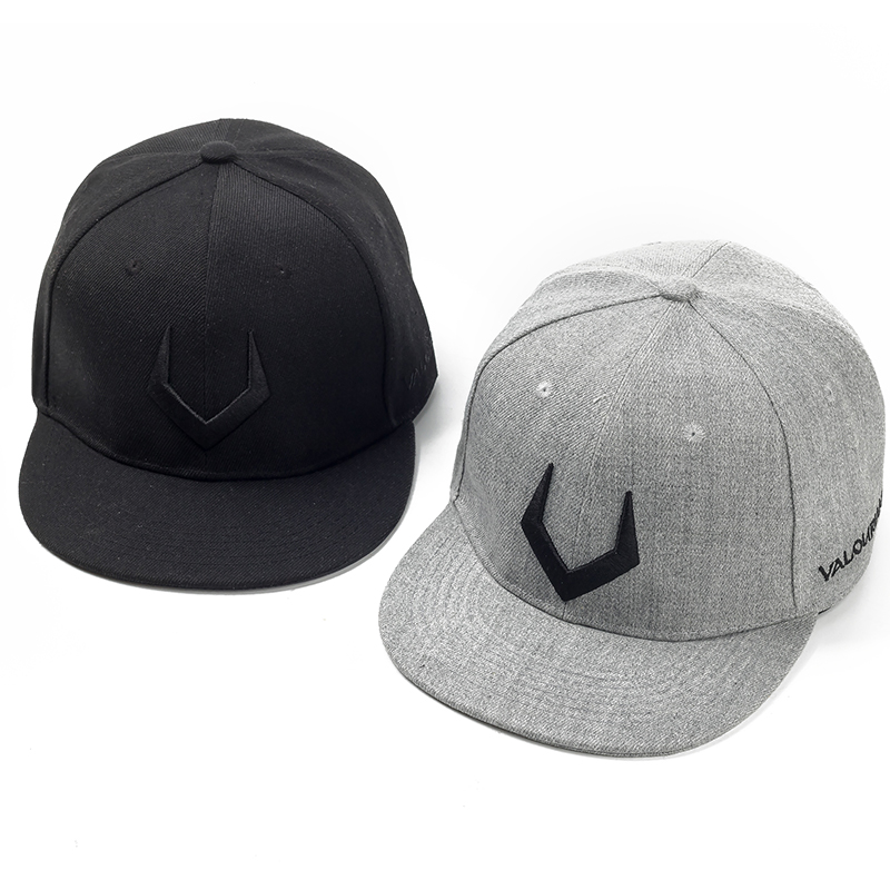 High Quality Grey And Black Wool Snapback 3D Russian Antler V Letter Embroidery Hip Hop Cap 1