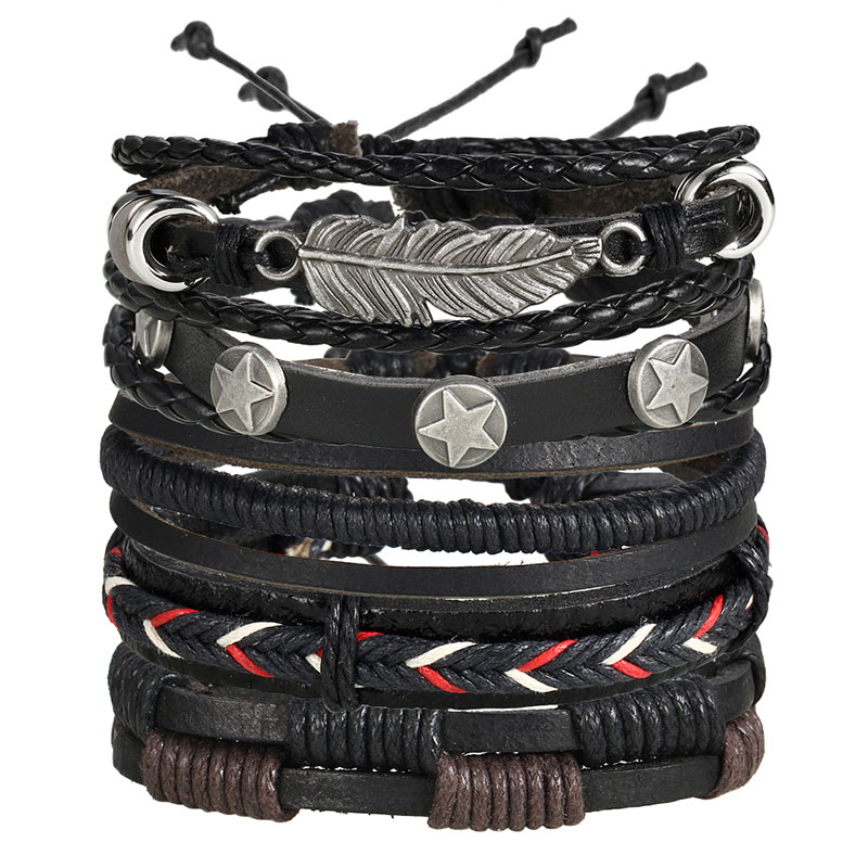 IF ME Fashion Charms Multiple Layers Owl Leather Bracelet Men Vintage Classic Rope Chain Wrap Arm 2
