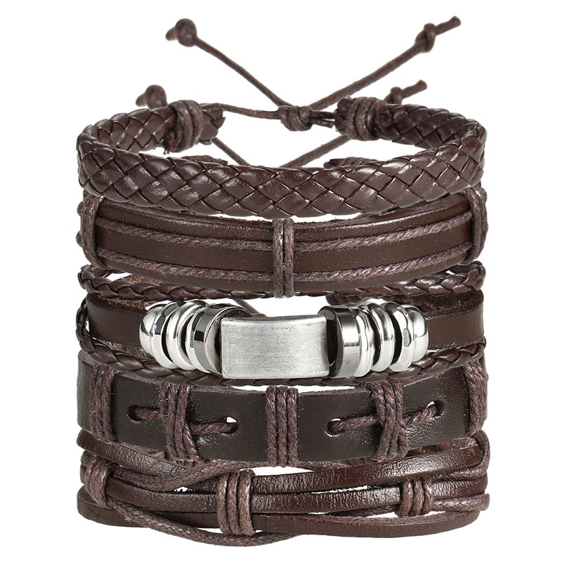 IF ME Fashion Charms Multiple Layers Owl Leather Bracelet Men Vintage Classic Rope Chain Wrap Arm 4