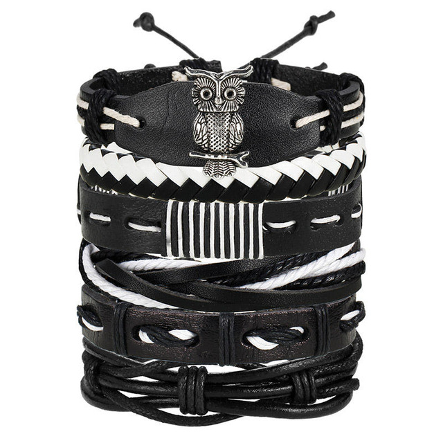 IF ME Fashion Charms Multiple Layers Owl Leather Bracelet Men Vintage Classic Rope Chain Wrap Arm.jpg 640x640
