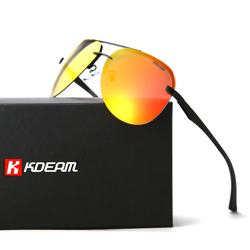 KDEAM Aluminum Magnesium Polarized Sunglasses Men 62mm Lens Sun Glasses Polaroid Two tone Goggles With Designer 5