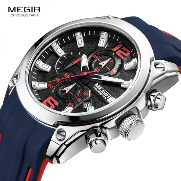 Megir Men s Chronograph Analog Quartz Watch with Date Luminous Hands Waterproof Silicone Rubber Strap Wristswatch 1