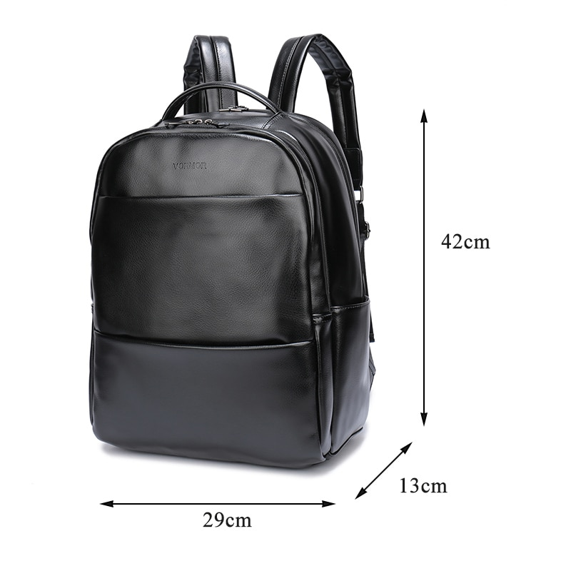 VORMOR Famous Brand Fashion Preppy Style Women Men School Backpack For Teenage Solid Black Leather Backpack 3