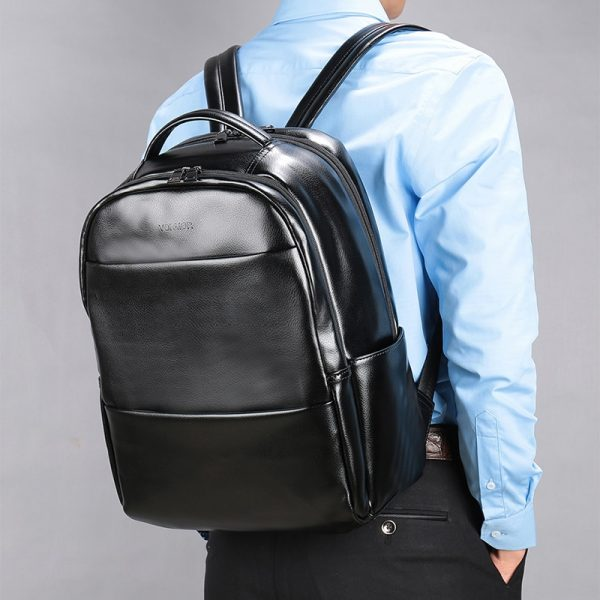 VORMOR Famous Brand Fashion Preppy Style Women Men School Backpack For Teenage Solid Black Leather Backpack