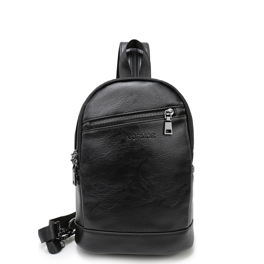 VORMOR Multifunction Leather Small Backpack Bag Waterproof Fashion Chest Pack Bags For Men Women 1