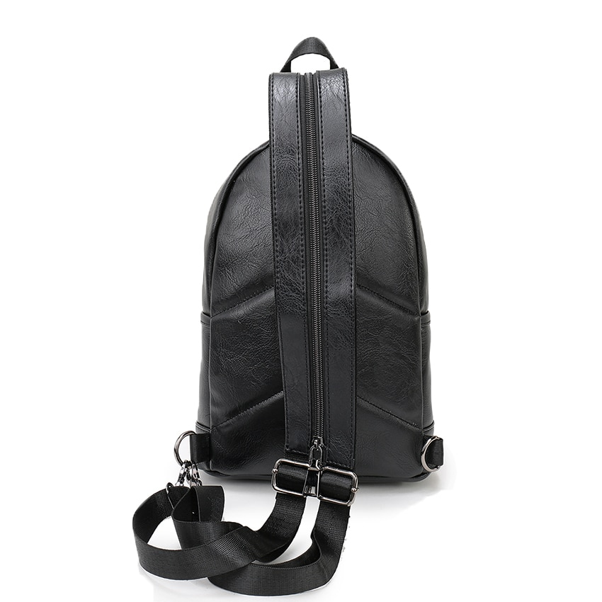VORMOR Multifunction Leather Small Backpack Bag Waterproof Fashion Chest Pack Bags For Men Women 2