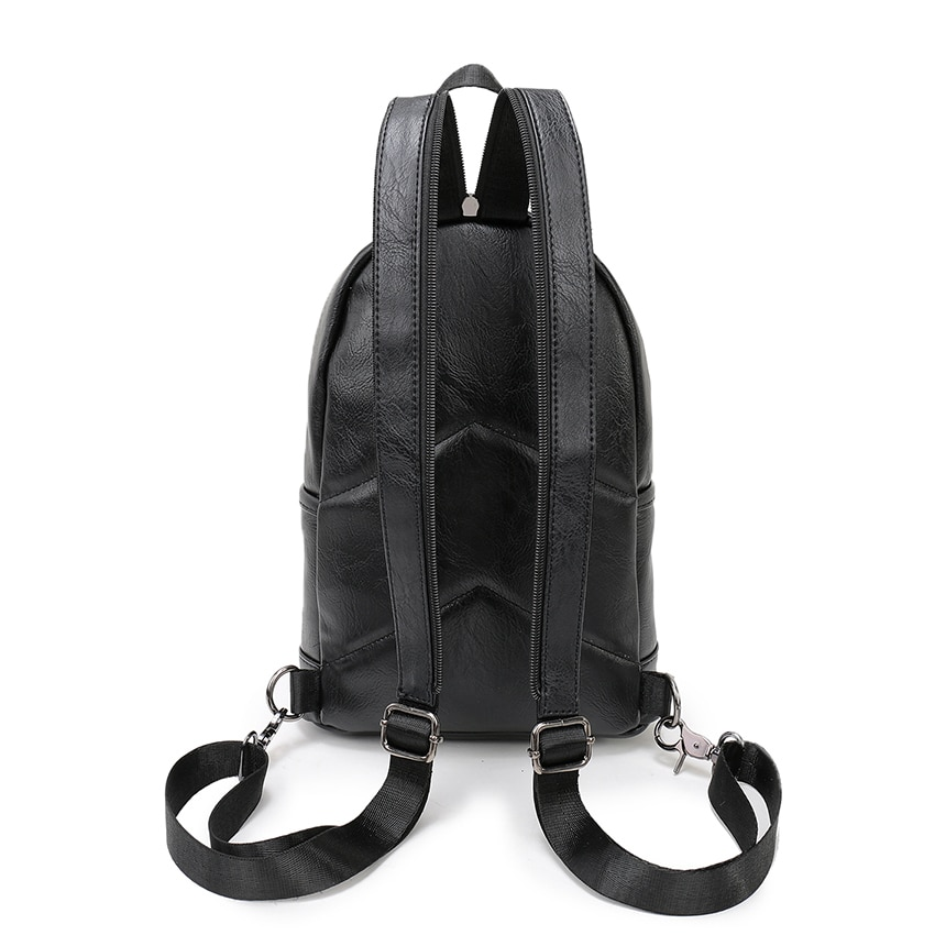 VORMOR Multifunction Leather Small Backpack Bag Waterproof Fashion Chest Pack Bags For Men Women 3