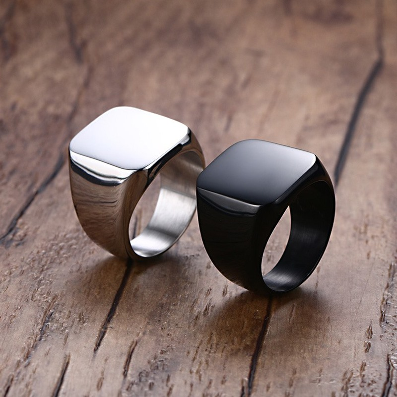 Vnox Smooth Men s Black Rock Punk Rings Cool Fashion Individuality Signet Ring for Men Party 2