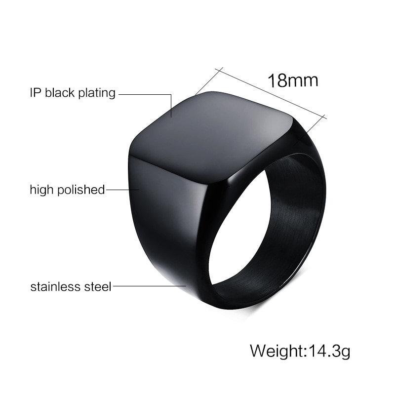 Vnox Smooth Men s Black Rock Punk Rings Cool Fashion Individuality Signet Ring for Men Party 3