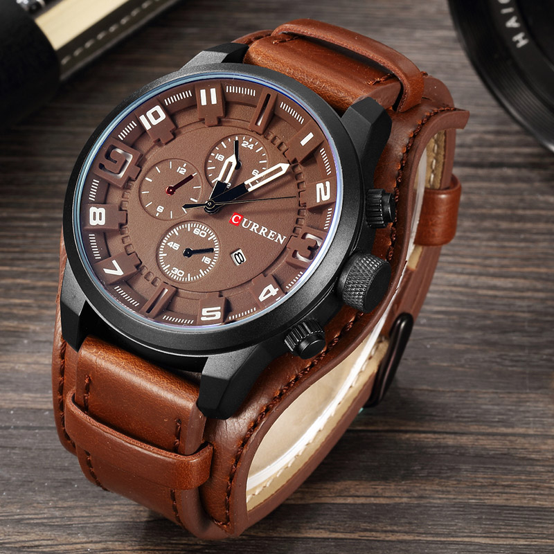 relogio masculino CURREN Watch Men Military Quartz Watch Mens Watches Top Brand Luxury Leather Sports Wristwatch 3