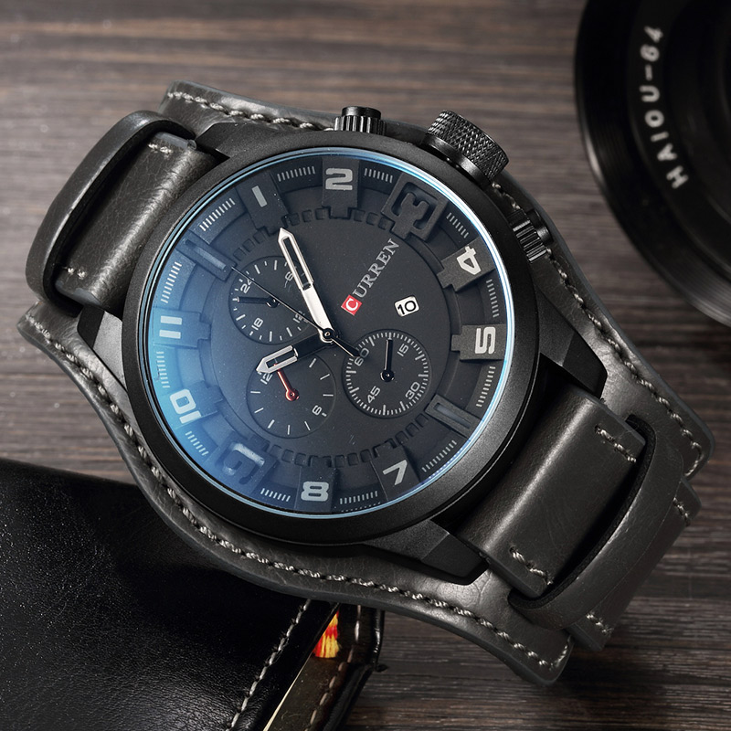 relogio masculino CURREN Watch Men Military Quartz Watch Mens Watches Top Brand Luxury Leather Sports Wristwatch 4