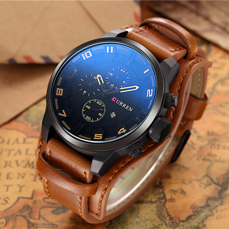 relogio masculino CURREN Watch Men Military Quartz Watch Mens Watches Top Brand Luxury Leather Sports Wristwatch 5